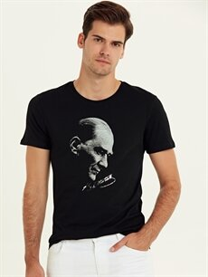 Siyah Atatürk Baskılı Pamuklu Tişört 9WO988Z8 LC Waikiki