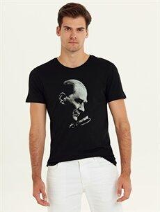 %100 Pamuk Standart Baskılı Kısa Kol Tişört Bisiklet Yaka Atatürk Baskılı Pamuklu Tişört