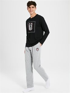Siyah Standart Kalıp Beşiktaş Pijama Takımı 9WP595Z8 LC Waikiki
