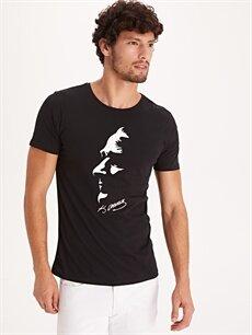 Siyah Atatürk Baskılı Pamuklu Tişört 9WQ084Z8 LC Waikiki