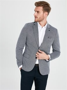 Erkek Slim Fit Dokulu Blazer Ceket