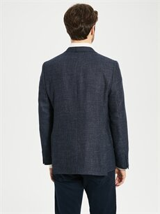 %63 Poliester %21 Yün %3 Akrilik %13 Viskoz Standart Kalıp Takım Elbise Ceketi