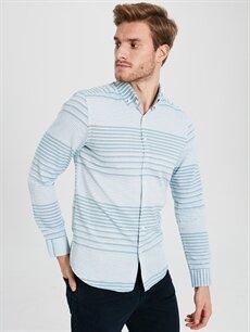 %100 Pamuk Çizgili Gömlek Düğmeli Dar Uzun Kol Slim Fit Çizgili Uzun Kollu Gabardin Gömlek