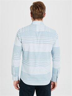 Erkek Slim Fit Çizgili Uzun Kollu Gabardin Gömlek