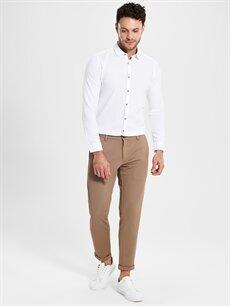 %97 Polyester %3 Elastan Dar Normal Bel Pantolon Slim Fit Armüllü Pantolon