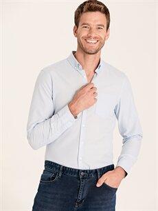 Mavi Slim Fit Uzun Kollu Armürlü Gömlek 9WS238Z8 LC Waikiki