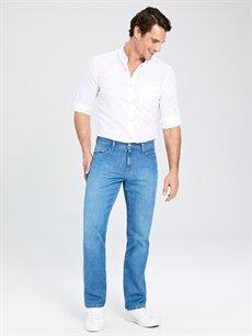 %100 Pamuk Rahat Yüksek Bel Jean 879 Regular Fit Jean Pantolon