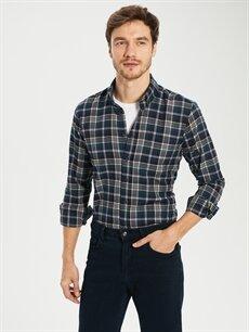 %55 Pamuk %45 Polyester Normal Uzun Kol Ekoseli Gömlek Regular Fit Ekose Uzun Kollu Gabardin Gömlek