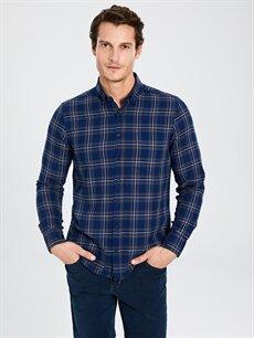 %100 Pamuk Normal Uzun Kol Ekoseli Gömlek Düğmesiz Regular Fit Ekose Gabardin Gömlek