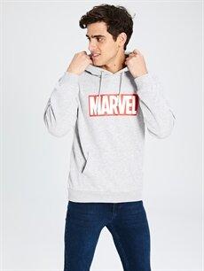 %43 Pamuk %57 Polyester  Marvel Baskılı Kapüşonlu Kalın Sweatshirt