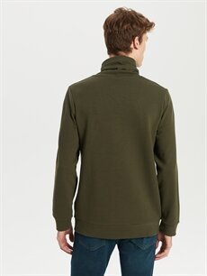 %84 Pamuk %16 Polyester Keşiş Yaka Basic Sweatshirt