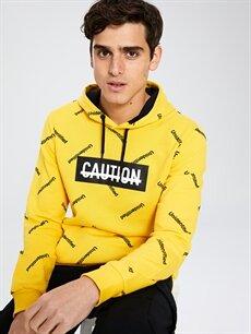 Sarı Kapüşonlu Baskılı Kalın Sweatshirt 9WU483Z8 LC Waikiki