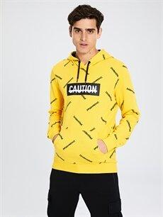 %100 Pamuk  Kapüşonlu Baskılı Kalın Sweatshirt