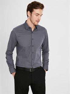 Gri Slim Fit Uzun Kollu Poplin Gömlek 9WU530Z8 LC Waikiki