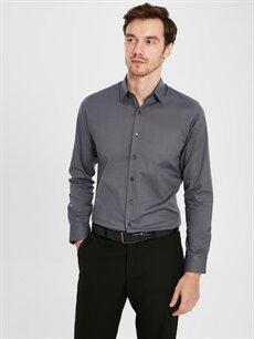 %97 Pamuk %3 Elastan Gömlek Düğmesiz Düz Uzun Kol Dar Slim Fit Uzun Kollu Poplin Gömlek