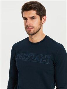 Erkek Bisiklet Yaka Baskılı Uzun Kollu Tişört