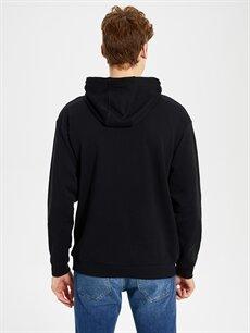 %66 Pamuk %34 Polyester Kapüşonlu Baskılı Kalın Sweatshirt