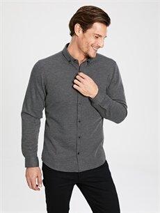Erkek Slim Fit Uzun Kollu Armürlü Gömlek