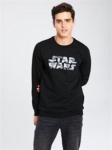 %80 Pamuk %20 Polyester  Star Wars Baskılı Bisiklet Yaka Sweatshirt