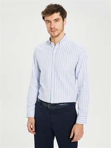 %59 Pamuk %41 Polyester Dar Ekoseli Uzun Kol Gömlek Düğmeli Slim Fit Ekoseli Poplin Gömlek