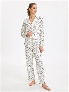 Ekru Yazı Baskılı Pamuklu Pijama Takımı 9W0090Z8 LC Waikiki