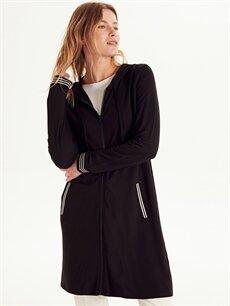 Siyah Kapüşonlu Fermuarlı Uzun Sweatshirt 9W2090Z8 LC Waikiki