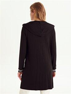Kadın Kapüşonlu Fermuarlı Uzun Sweatshirt
