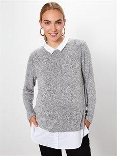 %55 Polyester %42 Viskoz %3 Elastan Gömlek, Bluz ve Tunik Yaka Detaylı Hamile Tişört