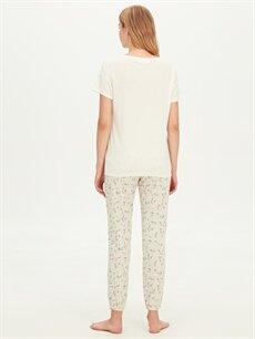Kadın Desenli Pamuklu Pijama Takımı