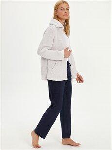 %94 Polyester %6 Elastan Standart Pijamalar Kadife Pijama Alt