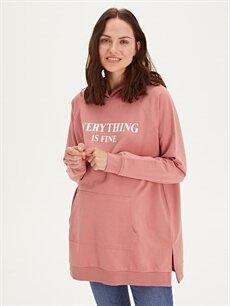 %68 Pamuk %32 Polyester Spor Giyim Yazı Baskılı Kapüşonlu Hamile Sweatshirt