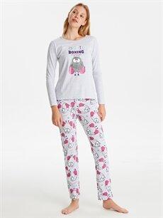 Gri Baskılı Pijama Takımı 9W7487Z8 LC Waikiki