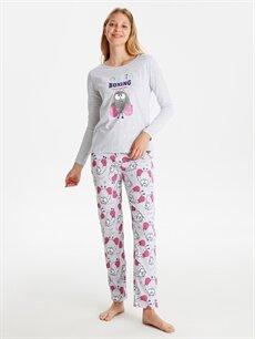 %49 Pamuk %51 Polyester Standart Pijamalar Baskılı Pijama Takımı