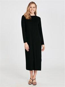 Siyah Kolları Aplike Baskılı Salaş Viskon Elbise 9W9001Z8 LC Waikiki