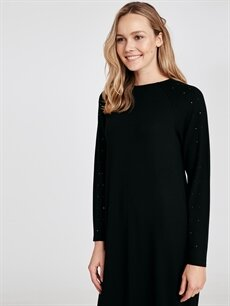 %96 Viskon %4 Elastan Diz Altı Uzun Kol Kolları Aplike Baskılı Salaş Viskon Elbise