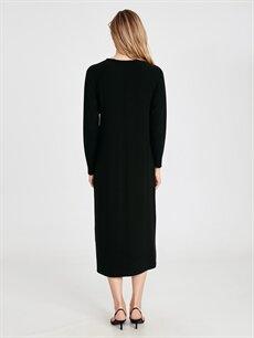 Kadın Kolları Aplike Baskılı Salaş Viskon Elbise
