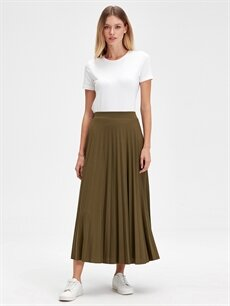 %35 Pamuk %65 Polyester Uzun Düz Beli Lastikli Uzun Pileli Etek