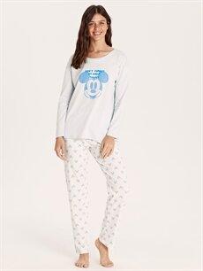 Mavi Mickey Mouse Lisanslı Pamuklu Pijama Takımı 9W9510Z8 LC Waikiki