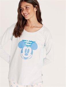 %100 Pamuk Pijamalar Standart Mickey Mouse Lisanslı Pamuklu Pijama Takımı