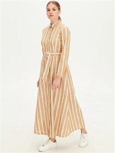 %100 Pamuk Uzun Çizgili Uzun Kol Kuşaklı Çizgili Gömlek Elbise