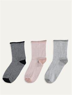 %78 Pamuk %20 Poliamid %2 Elastan  Soket Çorap 3'lü