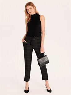 %64 Polyester %33 Viskon %3 Elastan Normal Bel Esnek Havuç Lastikli Bel Pantolon Beli Lastikli Ekose Havuç Pantolon