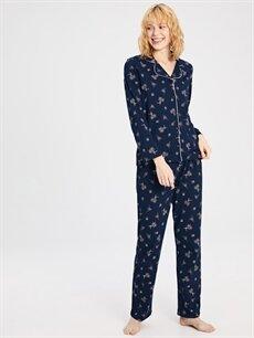Lacivert Çiçek Desenli Pamuklu Pijama Takımı 9W9950Z8 LC Waikiki
