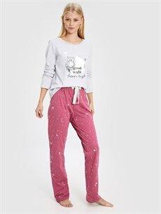 Pembe Baykuş Baskılı Desenli Pijama Takımı 9W9964Z8 LC Waikiki