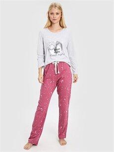 %49 Pamuk %51 Polyester Standart Pijamalar Baykuş Baskılı Desenli Pijama Takımı