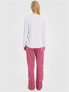Kadın Baykuş Baskılı Desenli Pijama Takımı