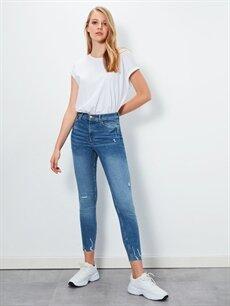 İndigo Sökük Detaylı Super Skinny Jean Pantolon 9WH219Z8 LC Waikiki