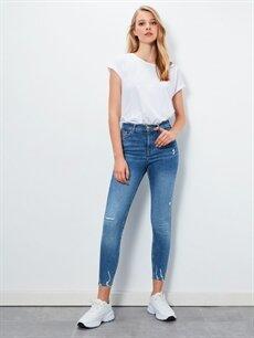 %98 Pamuk %2 Elastan Yüksek Bel Dar Jean Sökük Detaylı Super Skinny Jean Pantolon