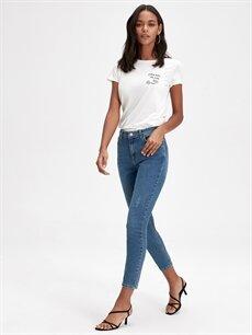 %78 Pamuk %19 Polyester %3 Elastan Yüksek Bel Dar Jean Kısa Paça Skinny Jean Pantolon