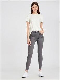 %65 Pamuk %31 Polyester %4 Elastan Yüksek Bel Dar Jean Super Skinny Jean Pantolon